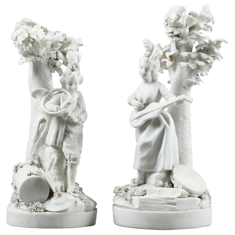 Louis XVI Bisque Musicians by Locre and Russinger For Sale