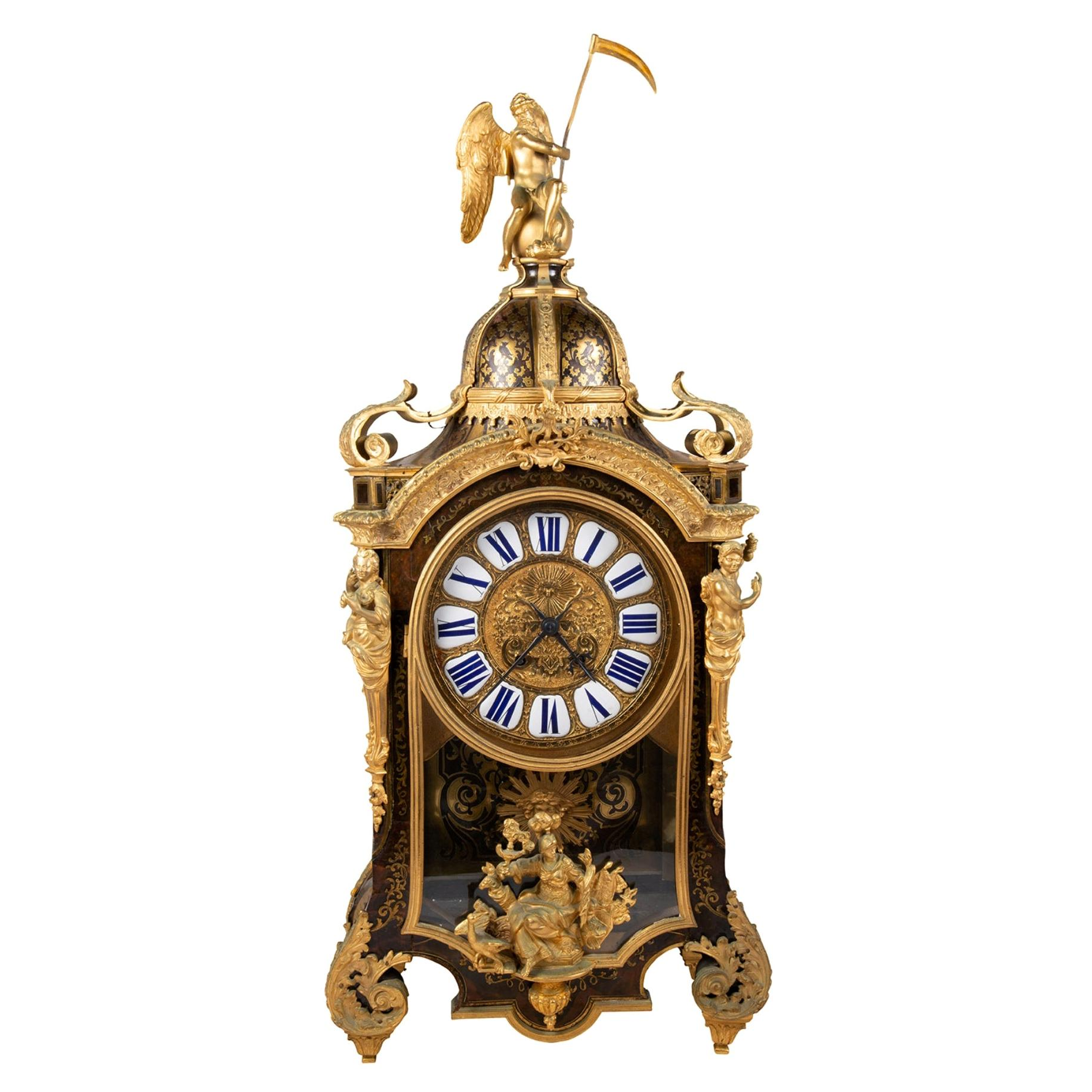 Louis XVI Boulle mantel clock, 19th Century.