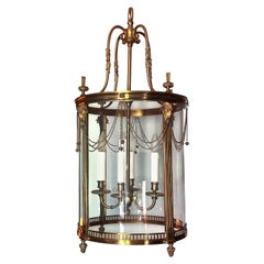 Louis XVI Brass Round Lantern with Rams Heads and Chain Swags