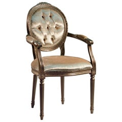 Louis XVI Bronze Chair with Armrests