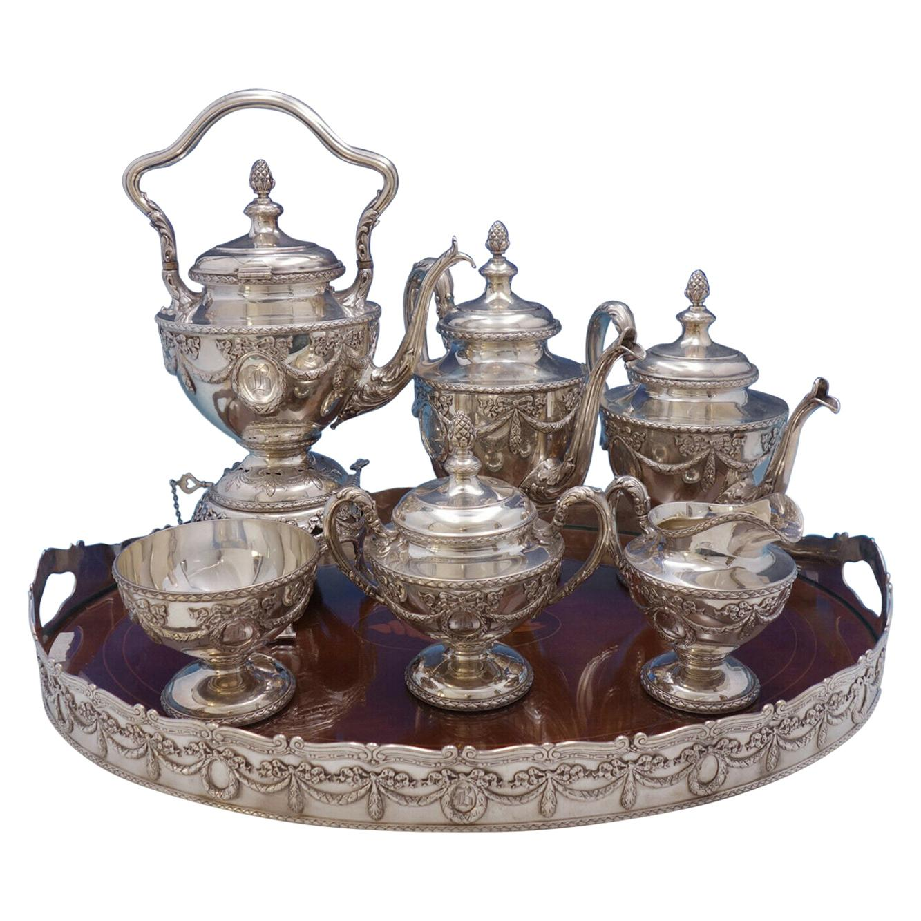 Louis XVI by Shreve Sterling Silver Tea Set with Tray & Kettle on Stand '#4576'