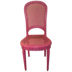 Louis XVI Caned Back and Seat Side Chair from France, Painted Pink