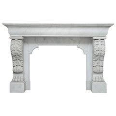 Louis XVI Carrara White Marble Antique Fireplace