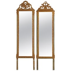 Louis XVI Carved Giltwood Pier Wall Mirrors, France