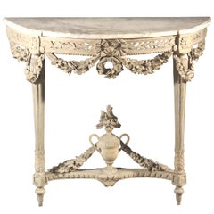 Louis XVI Carved Wood Console Table