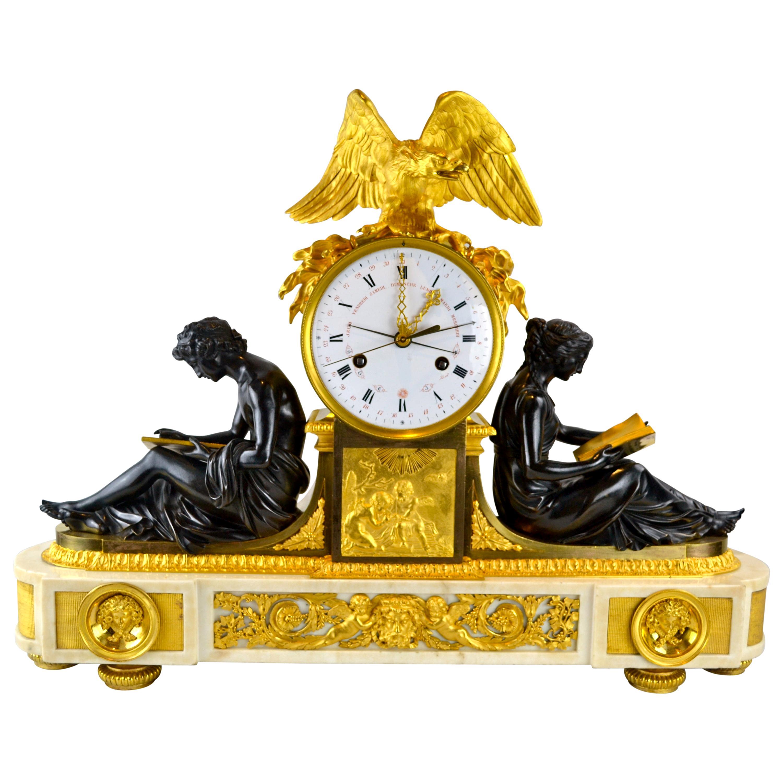Louis XVI Clock Depicting L'Etude 'Learning' et La Philosophie 'Philosophy'