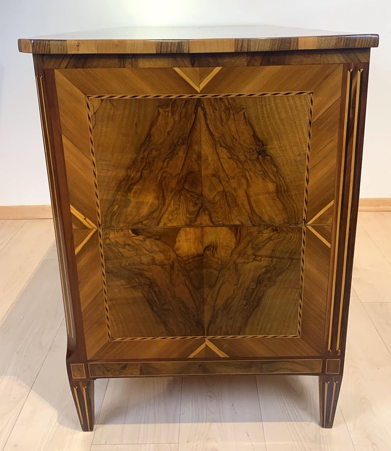 Louis XVI Commode, Walnut, Maple, Plum, Ebony, Brass, South Germany, circa 1790 For Sale 4