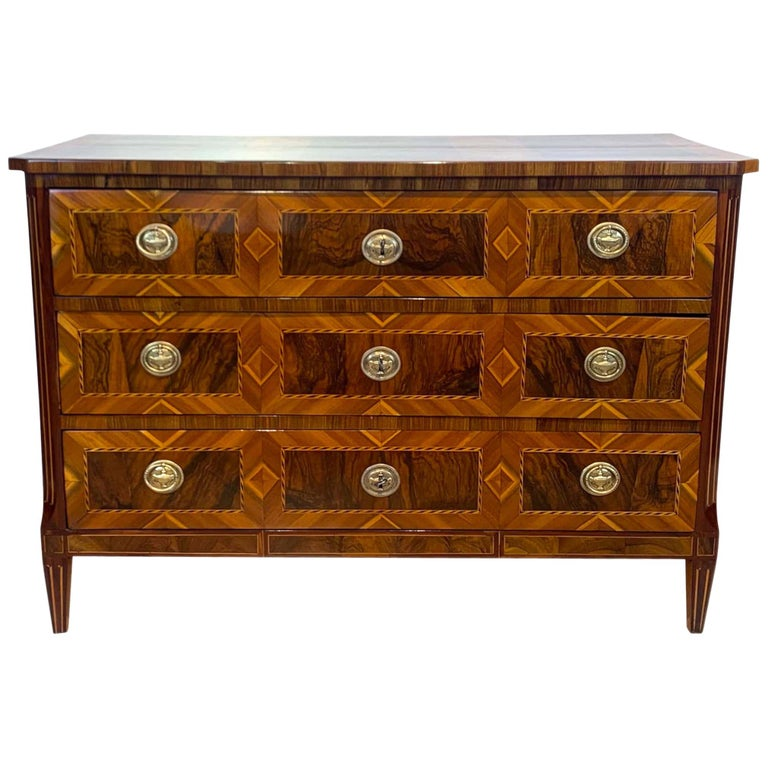Louis XVI Commode, Walnut, Maple, Plum, Ebony, Brass, South Germany, circa 1790 For Sale