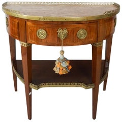 Louis XVI Demilune Table with Marble Top and Writing Surface