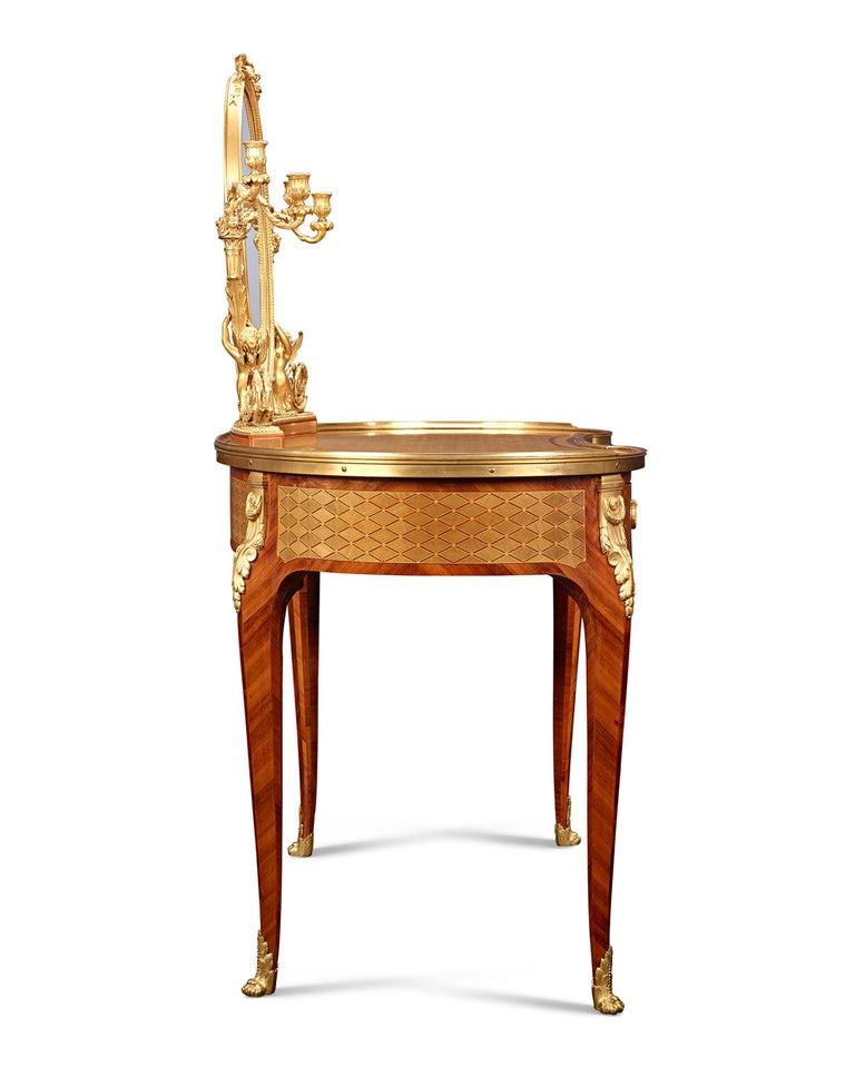 Marquetry Louis XVI Dressing Table by Paul Sormani For Sale