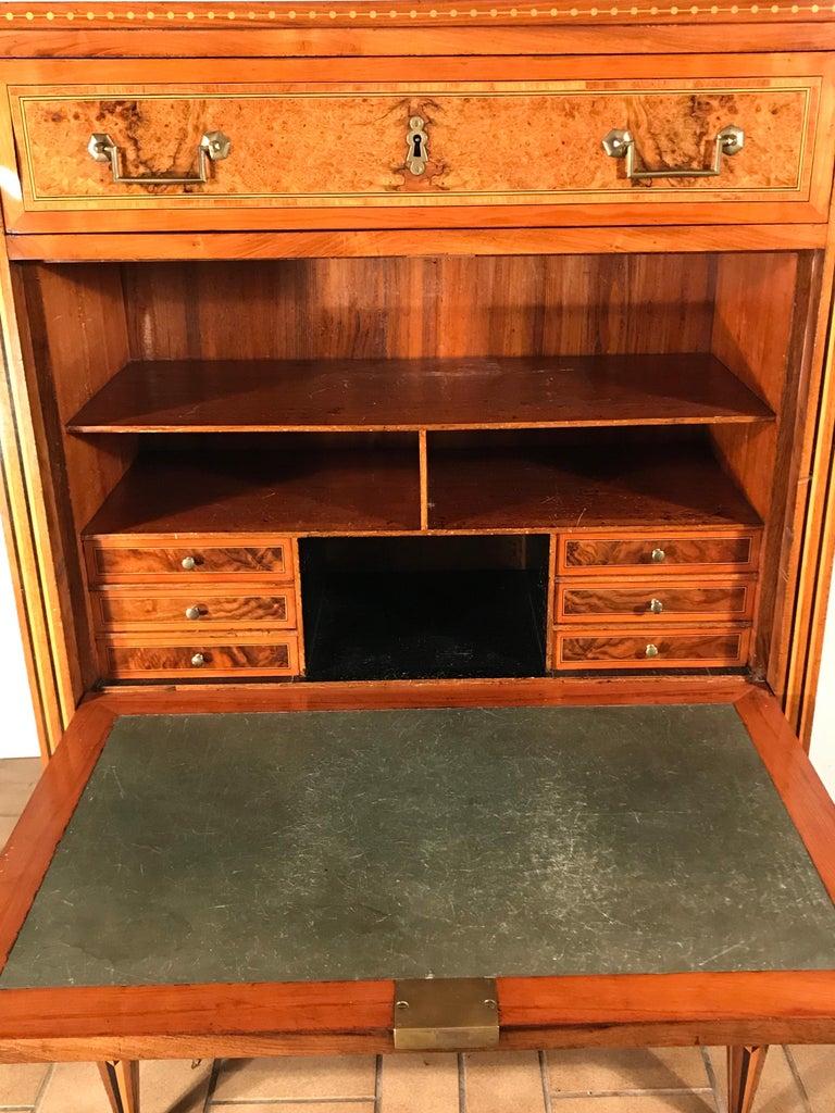 French Louis XVI Drop Front Desk, France 1780-1800, Walnut Root Veneer For Sale