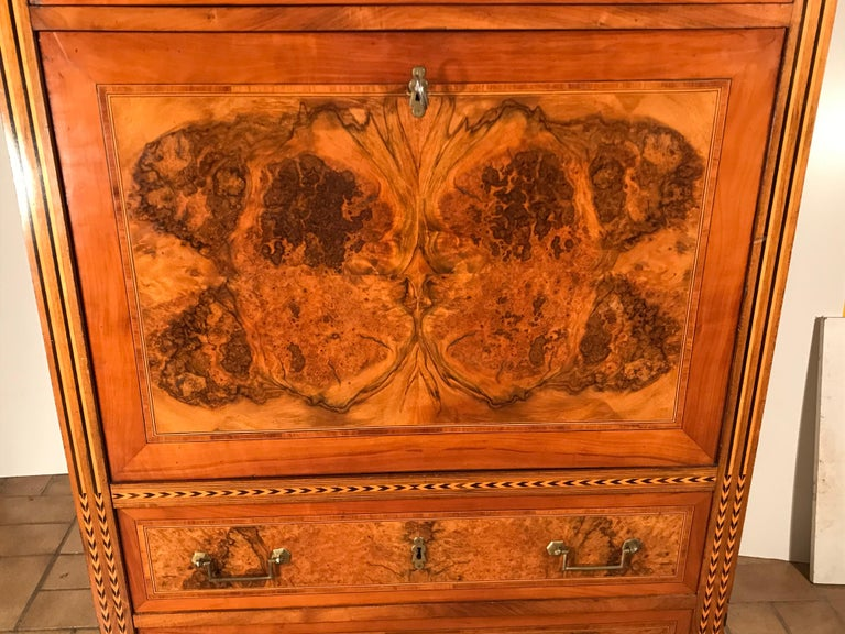 Marquetry Louis XVI Drop Front Desk, France 1780-1800, Walnut Root Veneer For Sale