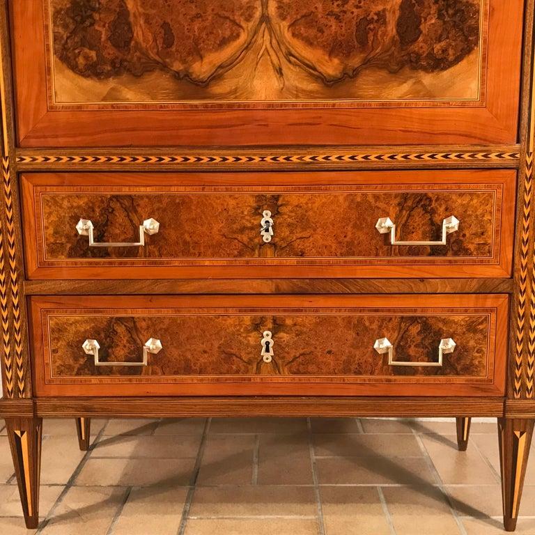Late 18th Century Louis XVI Drop Front Desk, France 1780-1800, Walnut Root Veneer For Sale