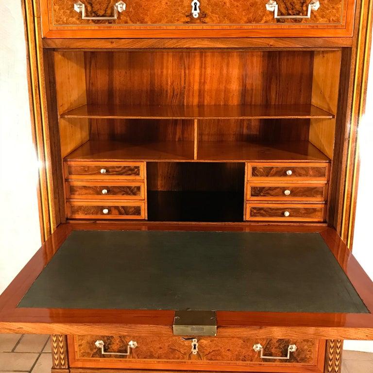 Boxwood Louis XVI Drop Front Desk, France 1780-1800, Walnut Root Veneer For Sale