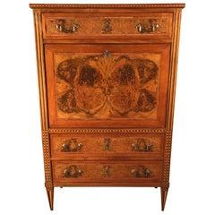 Louis XVI Drop Front Desk, France 1780-1800, Walnut Root Veneer