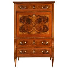 Louis XVI Drop Front Desk, France 1780-1800, Walnut Root Veneer