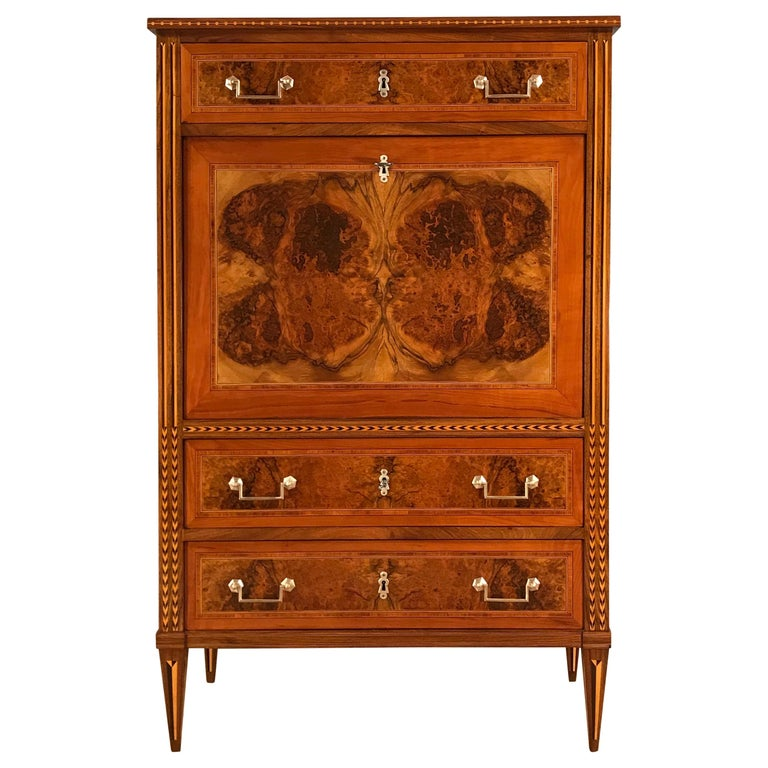 Louis XVI Drop Front Desk, France 1780-1800, Walnut Root Veneer For Sale