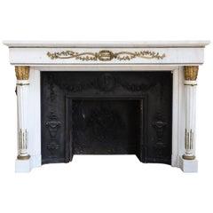 Beautiful 19th Century Louis XVI Antique Fireplace from Chateau de la Gesse