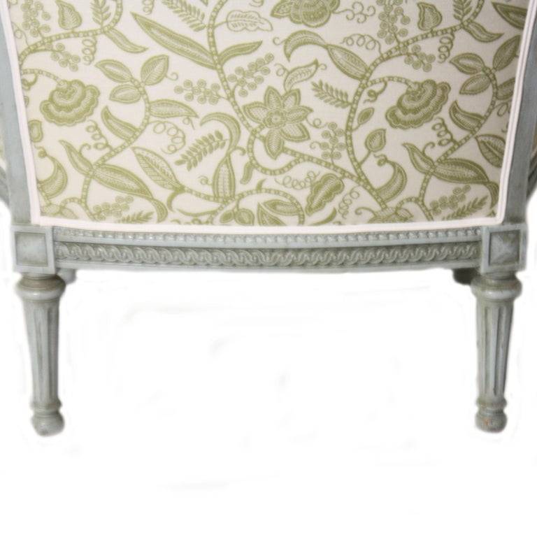 Fabric Louis XVI Fauteuil chair, circa 1900 For Sale