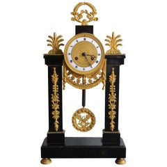 Louis XVI French Black Marble Clock