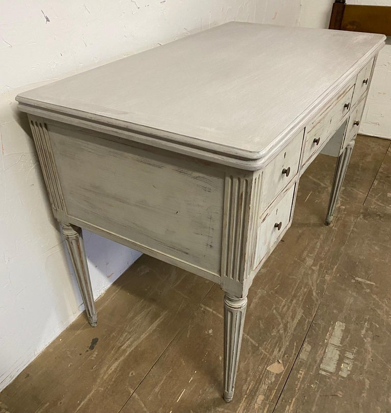 19th Century Louis XVI French Country Style Painted Desk For Sale