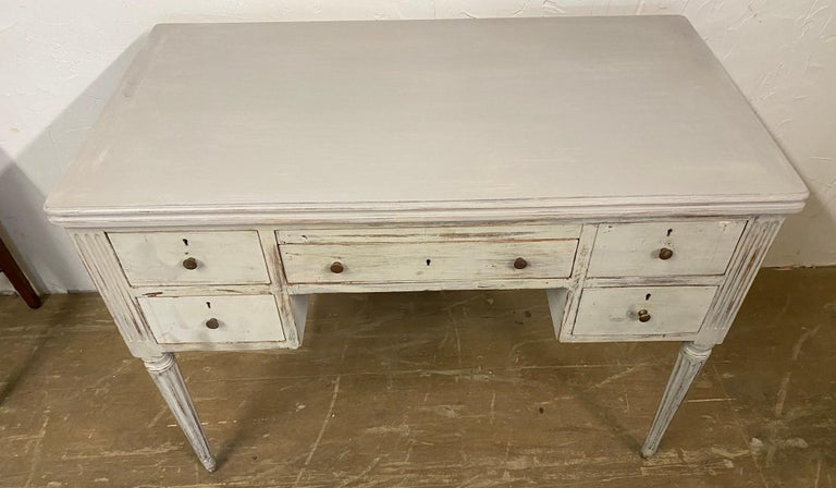 Wood Louis XVI French Country Style Painted Desk For Sale