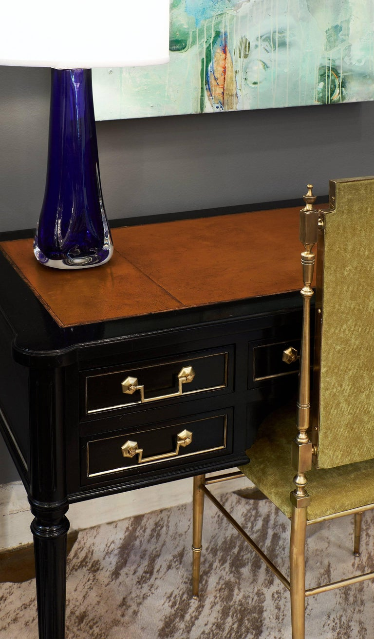 Louis XVI French Ebonized Desk In Excellent Condition For Sale In Austin, TX