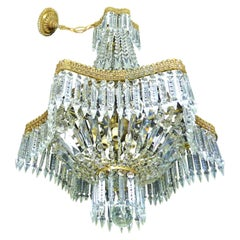 Louis XVI French Empire Cut Crystal Basket and Gilt Bronze Chandelier