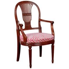 Louis XVI French Oak Harp Back Occasional Chair, circa 1890