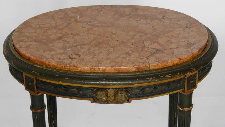 Polished Louis XVI French Oval Marble-Top Table For Sale