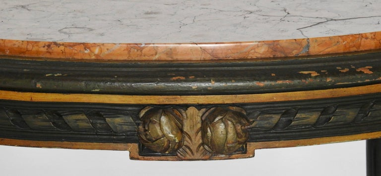 Louis XVI French Oval Marble-Top Table In Fair Condition For Sale In Cookeville, TN