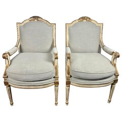 Louis XVI French Painted and Parcel-Gilt Armchairs, circa 1930s