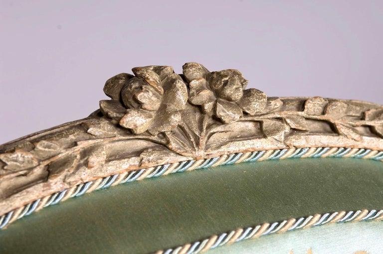 Louis XVI French Silk Armchair, Claude II Sené, Fauteuil a la Reine, 1780-1783 For Sale 2