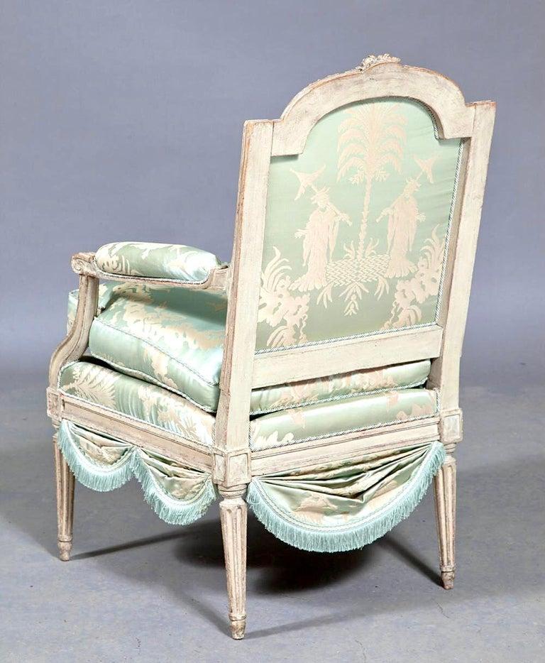 18th Century Louis XVI French Silk Armchair, Claude II Sené, Fauteuil a la Reine, 1780-1783 For Sale