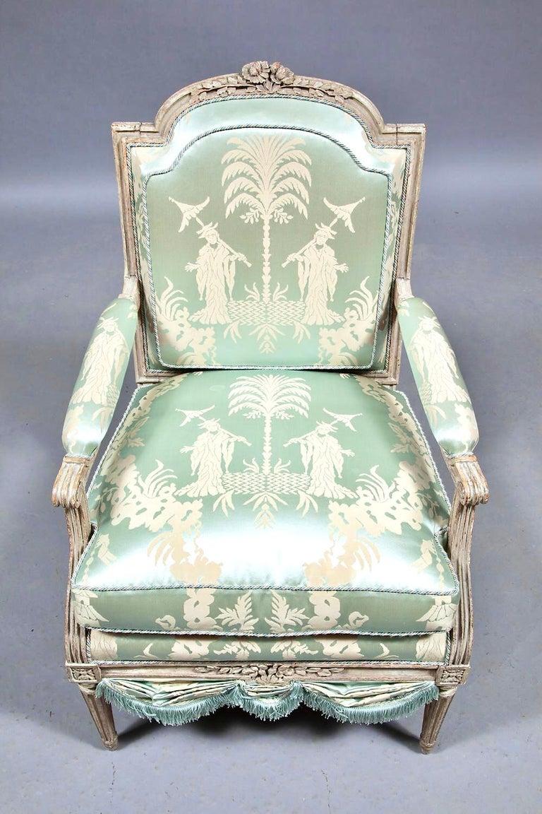 Louis XVI French Silk Armchair, Claude II Sené, Fauteuil a la Reine, 1780-1783 For Sale 1