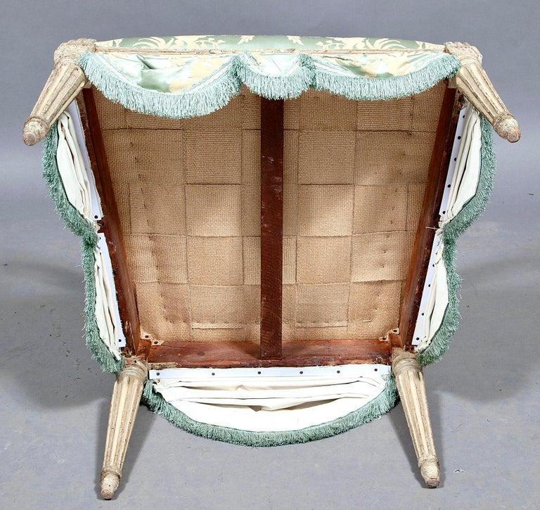 Louis XVI French Silk Armchair, Claude II Sené, Fauteuil a la Reine, 1780-1783 For Sale 4