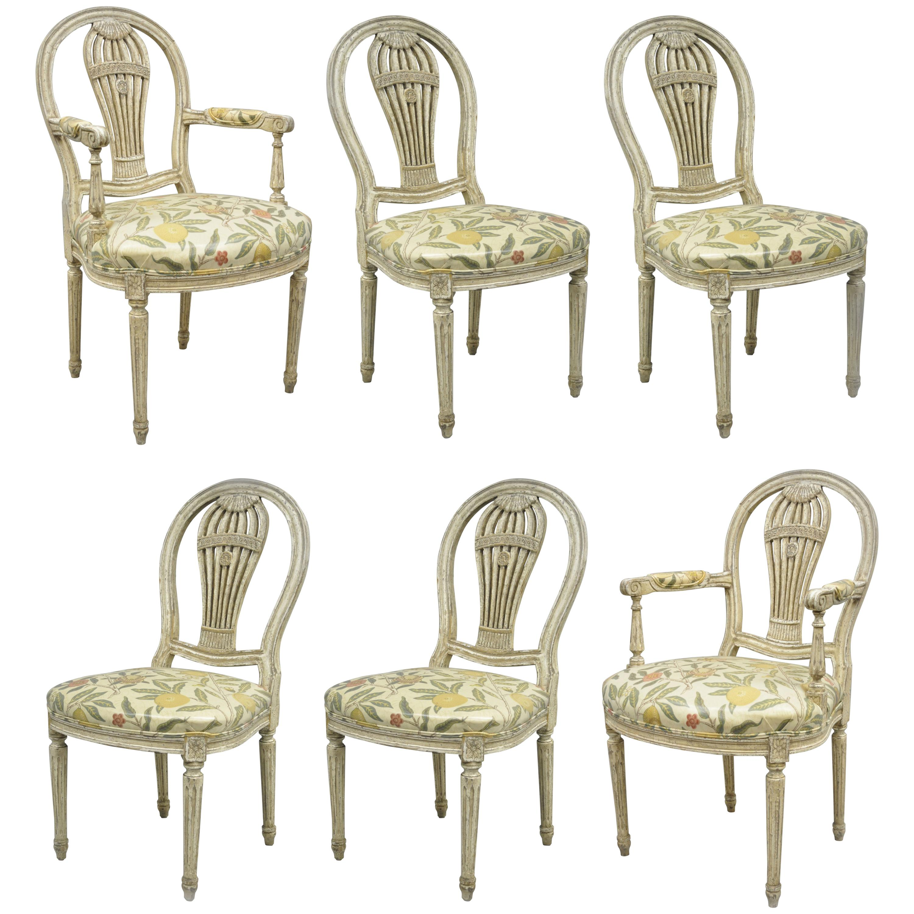 Louis XVI French Style Hot Air Balloon Back Montgolfier Dining Chair, Set  Of Six For