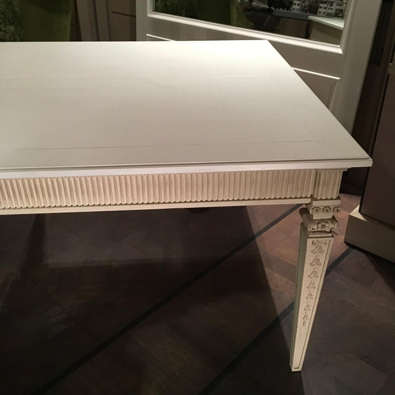 France Louis XVI Style Kitchen White Painted Dining Table For Sale 3