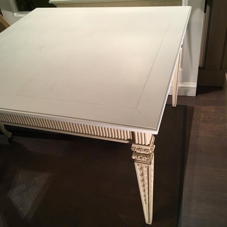 French France Louis XVI Style Kitchen White Painted Dining Table For Sale