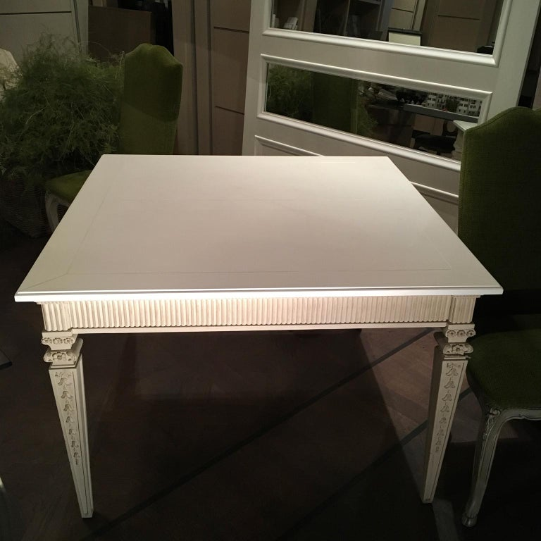 Hand-Crafted France Louis XVI Style Kitchen White Painted Dining Table For Sale