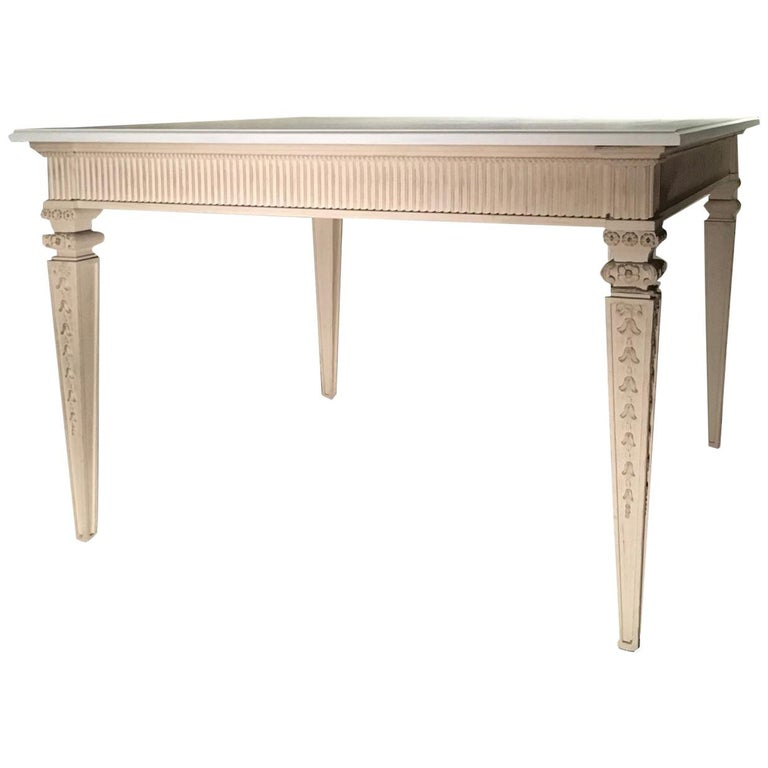 France Louis XVI Style Kitchen White Painted Dining Table For Sale