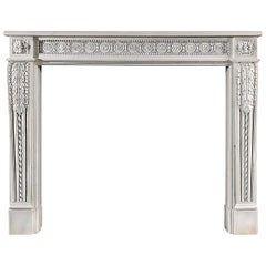 Louis XVI French White Veined Statuary Marble Fireplace