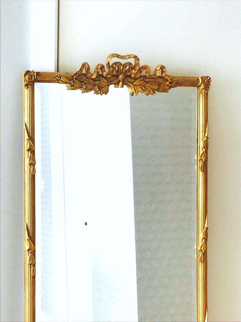 Louis XVI Gilded and Hand Carved Pier Mirror, France, 1940s For Sale 3