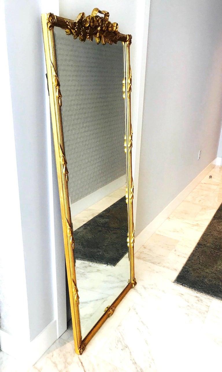 Louis XVI Gilded and Hand Carved Pier Mirror, France, 1940s For Sale 5