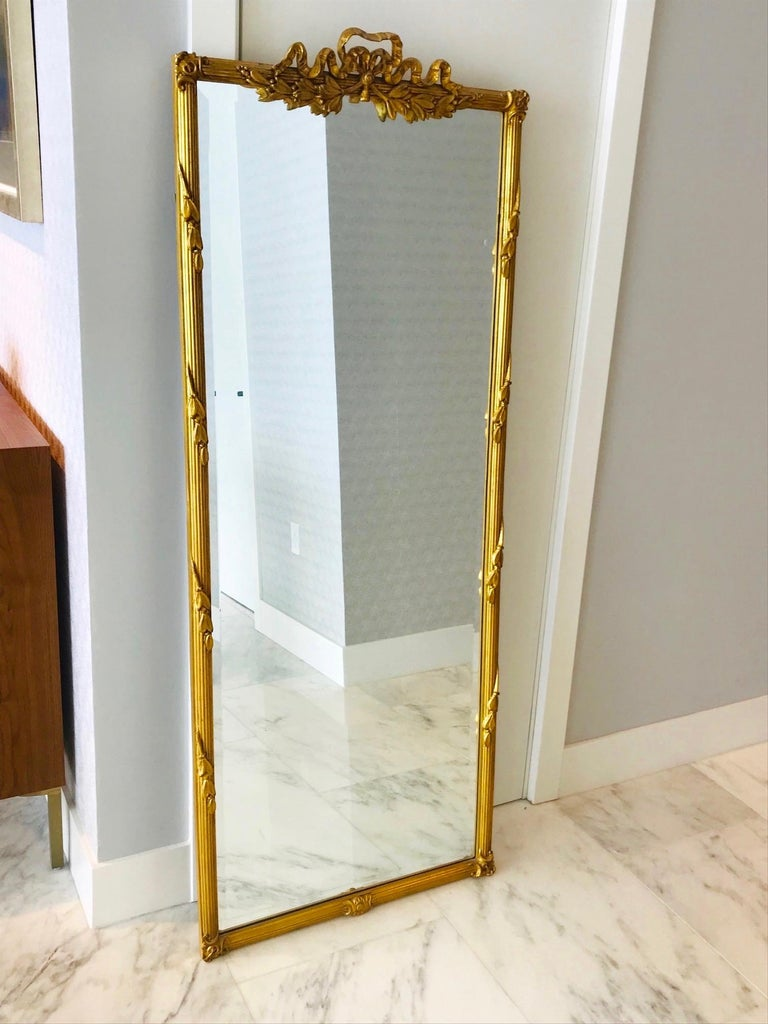 French Louis XVI Gilded and Hand Carved Pier Mirror, France, 1940s For Sale
