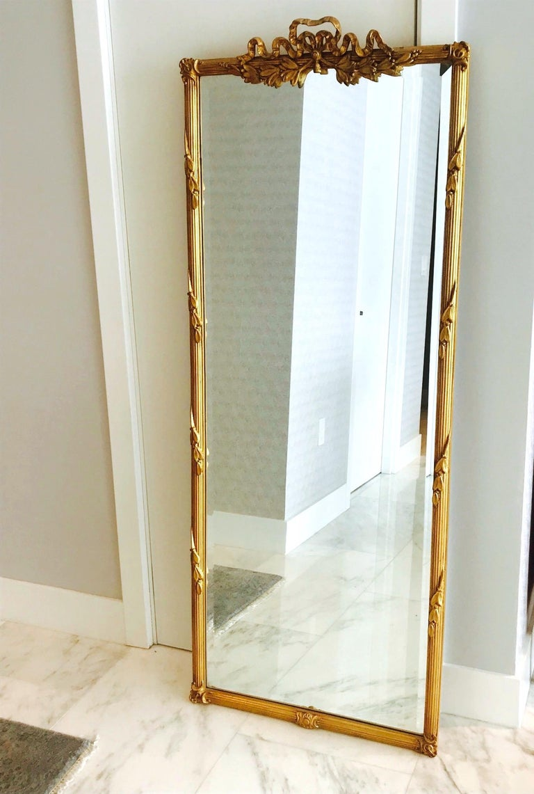 Beveled Louis XVI Gilded and Hand Carved Pier Mirror, France, 1940s For Sale
