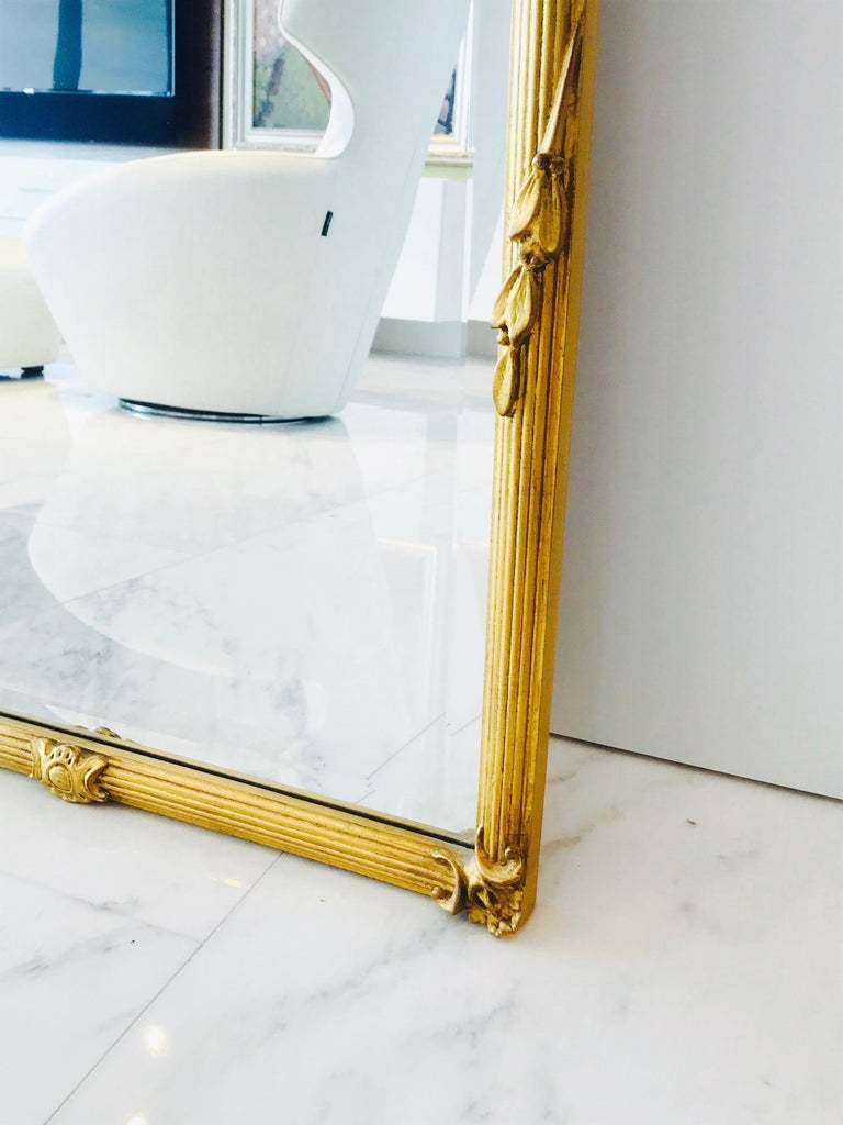 Mid-20th Century Louis XVI Gilded and Hand Carved Pier Mirror, France, 1940s For Sale