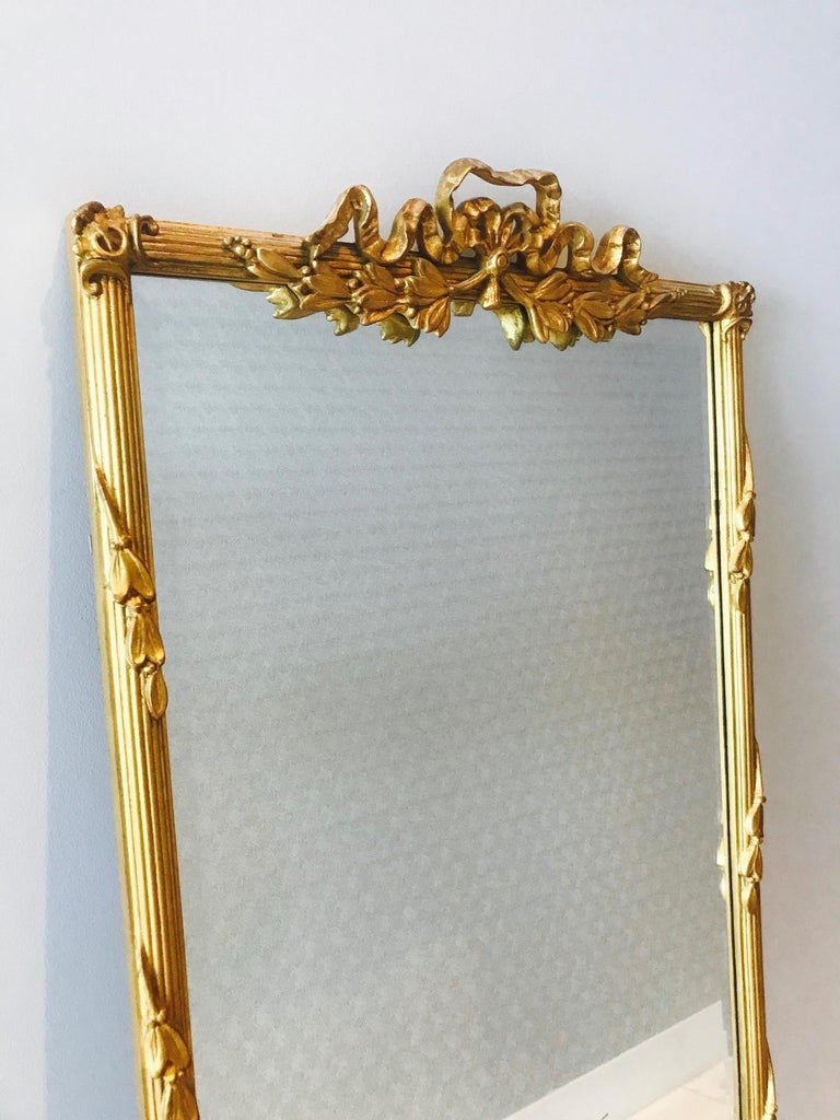 Louis XVI Gilded and Hand Carved Pier Mirror, France, 1940s For Sale 1