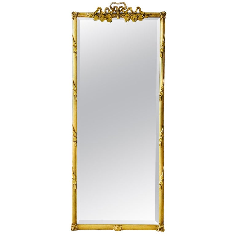 Louis XVI Gilded and Hand Carved Pier Mirror, France, 1940s For Sale