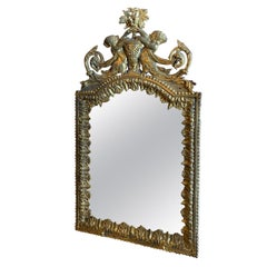 Louis XVI Gilded Bronze Mirror Glass Decorative Wall Mount Handcrafted
